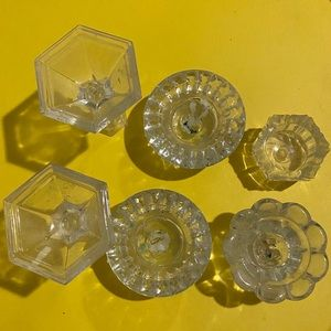 Glass crystal candle holders